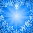 Snow frame in the shape of heart - Stock Vector