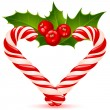 Christmas heart: candy canes and holly - Imagens vectoriais em stock