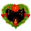 Christmas wreath in the shape of heart - Stock Vector
