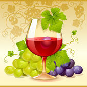 Vector wine glass and grape — Stock Vector