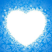 Snow frame in the shape of heart — Vector de stock