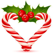 Christmas heart: candy canes and holly — Stock Vector