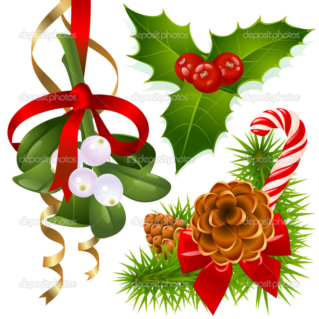Christmas tree, mistletoe and holly — Stock Vector #1261854