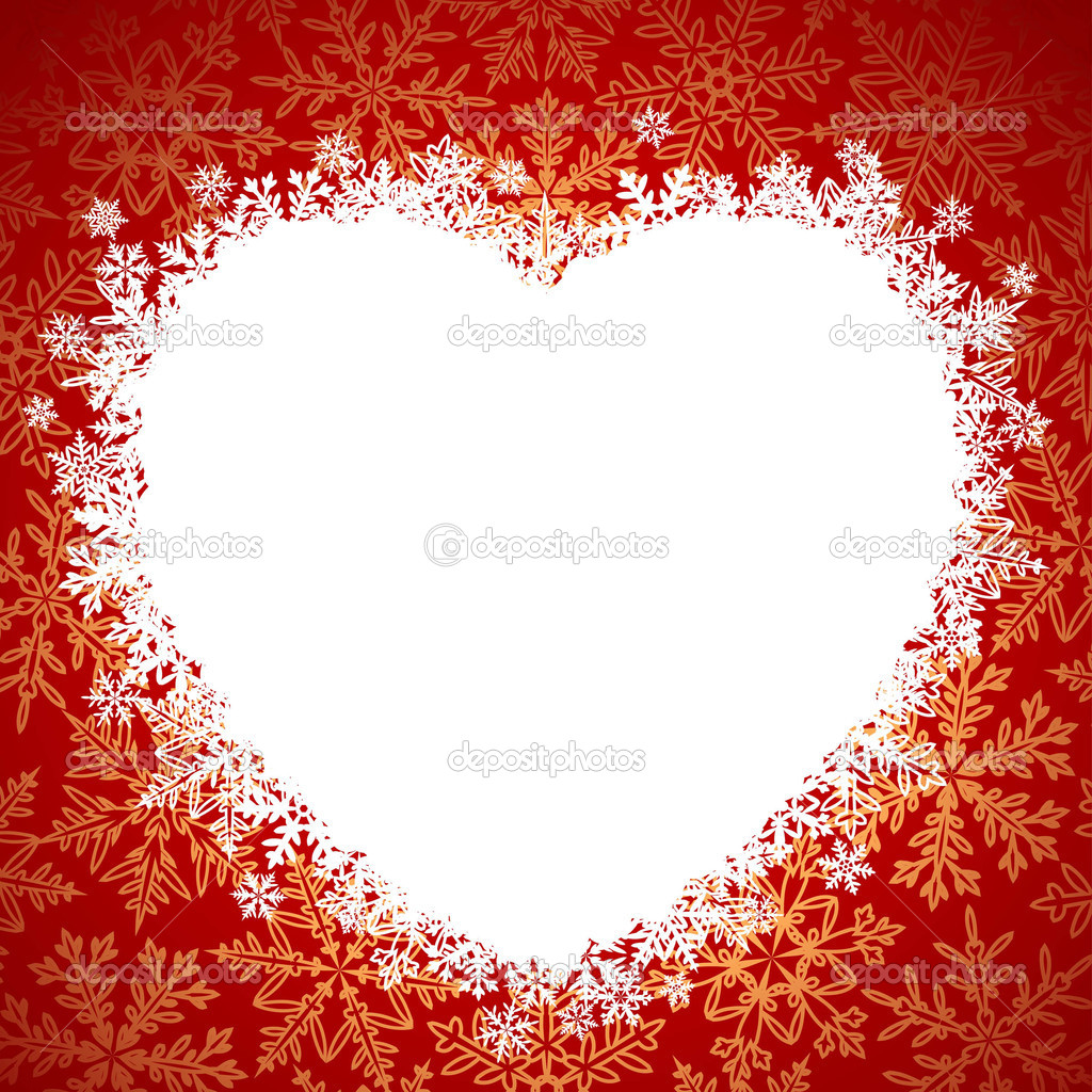 Snow frame in the shape of heart  Stock Vector #1262373