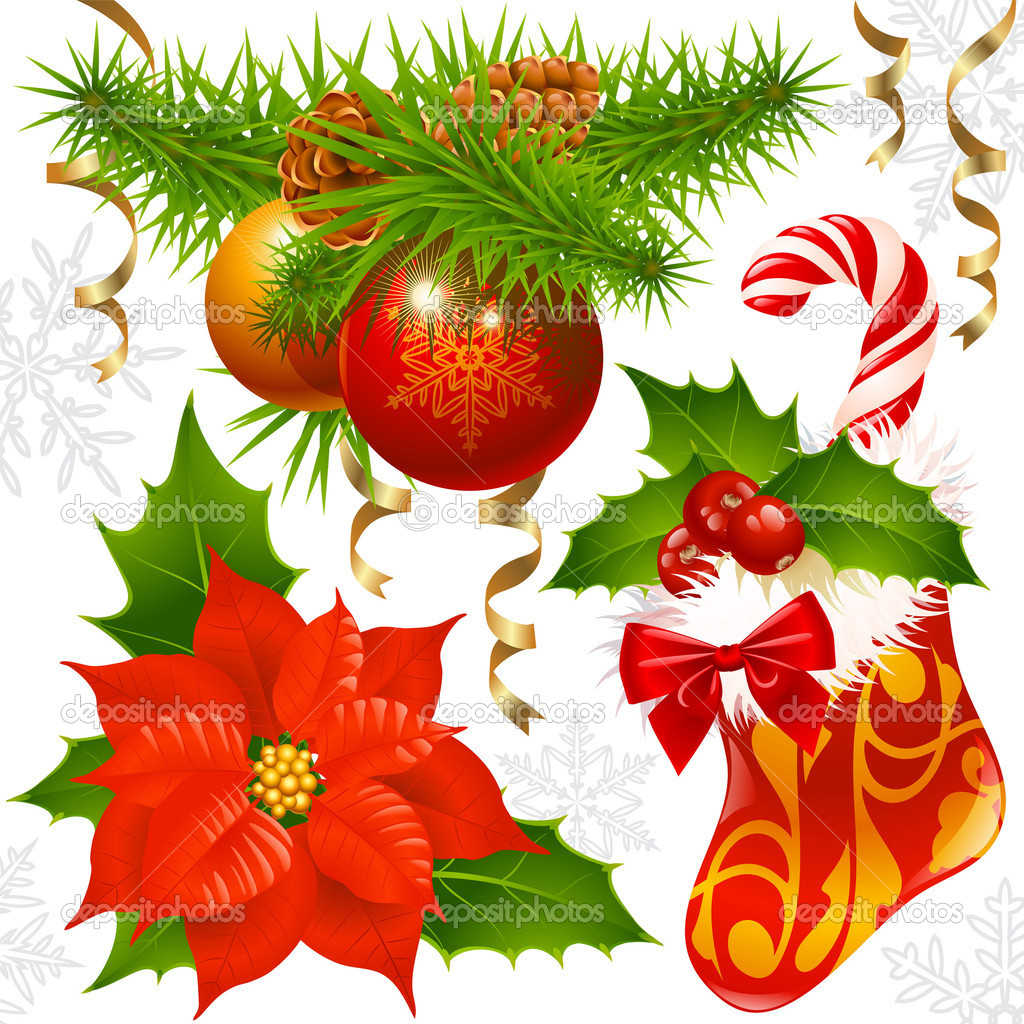 Christmas decoration set — Imagen vectorial #1262777