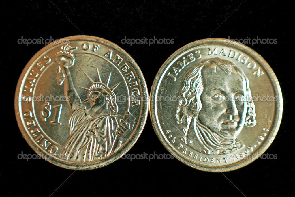 A one dollar James Madison and statue of liberty US coin — Stock Photo #1291406
