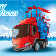 Merry Christmas gifts on a truck — Stockvectorbeeld