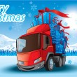 Merry Christmas gifts on a truck — 图库矢量图片
