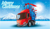 Merry Christmas gifts on a truck — Stock Vector