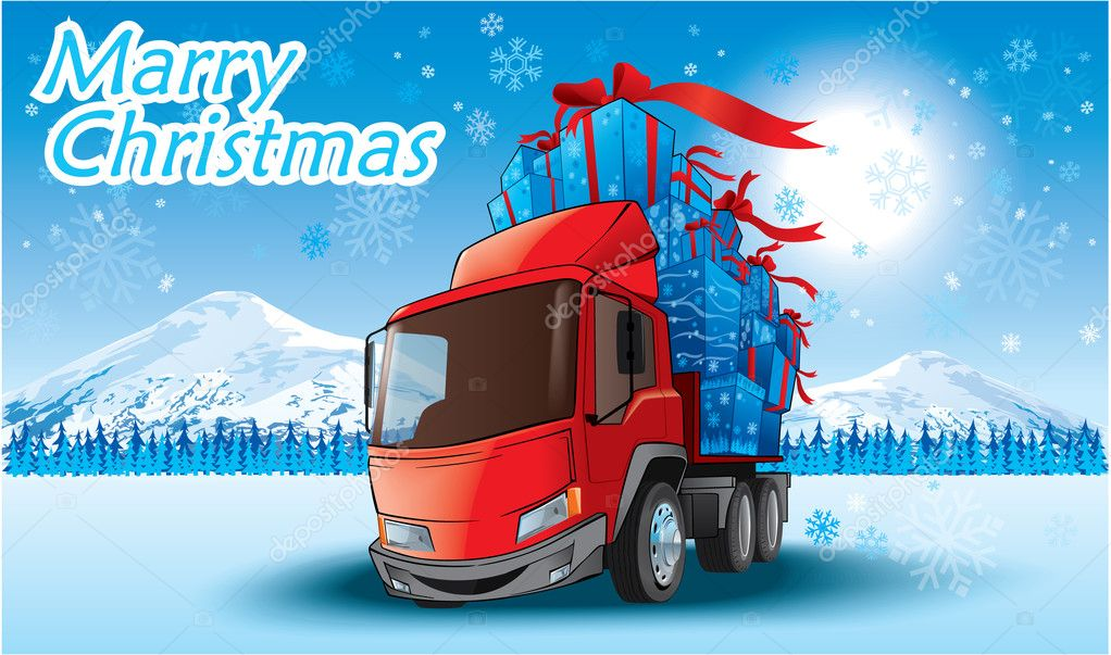 Vector illustration of the merry christmas gifts on a truck — Stock Vector #1240792