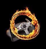 Burning game wheel — Stock Photo