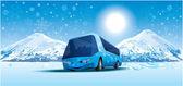 Amusing bus in the mountains — Stock Vector