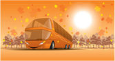 Smiling bus on the Autumn scene — Stock Vector