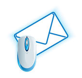 Computer mouse on the mail envelope — Vector de stock
