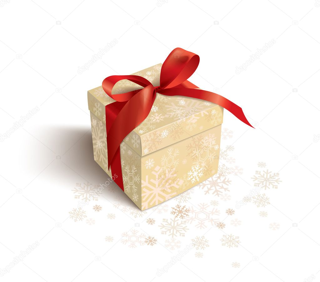 Christmas gift on a  white background — Imagen vectorial #1326296