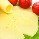 queso, tomate y lechuga en el plat — Foto de Stock