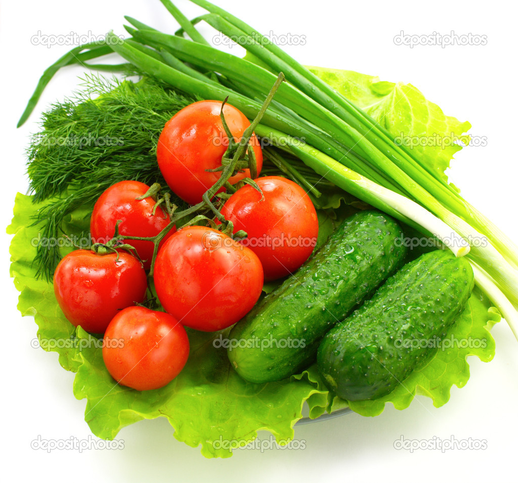 Fresh vegetable on  plate on a white background — Stock Photo #2288346