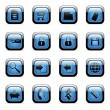 Blue icon set for web applications — Vector de stock