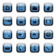 Blue icon set for web applications — ストックベクタ