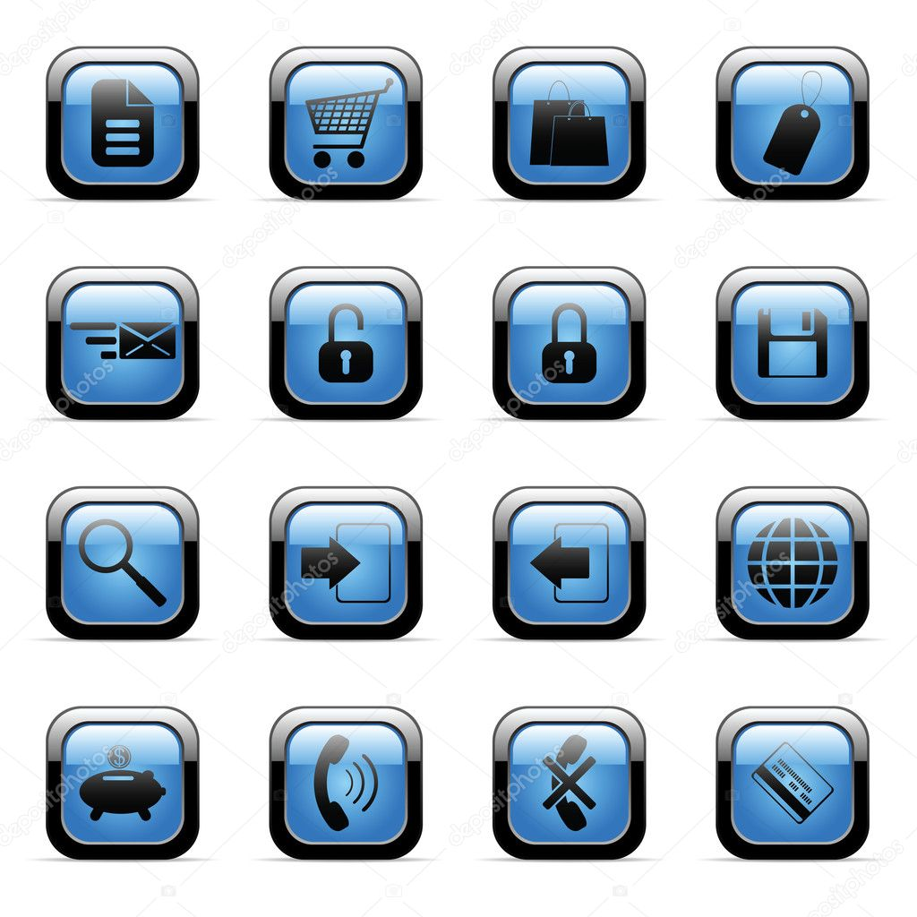 Vector blue icons set for web applications   Stock Vector #2369853