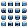 blauwe icon set voor webapplicaties — Stockvector