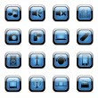 Media blue icon set — Stock Vector