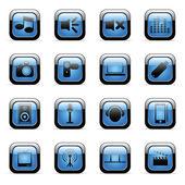 Zestaw nośników niebieski ikona — Wektor stockowy