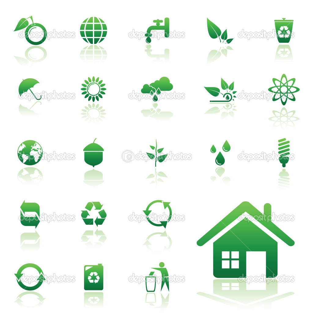 Environment  and recycle vector icons set for web design — Stock Vector #2460528
