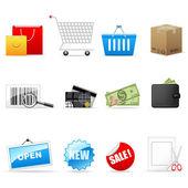 Iconos de compras — Vector de stock