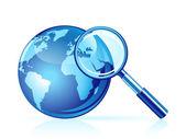 Ikona wektor wyszukiwanie globalne — Wektor stockowy