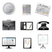 Icônes de bureau et d'entreprise — Vecteur