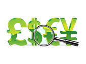 Money sing under a magnifier — Stock Vector