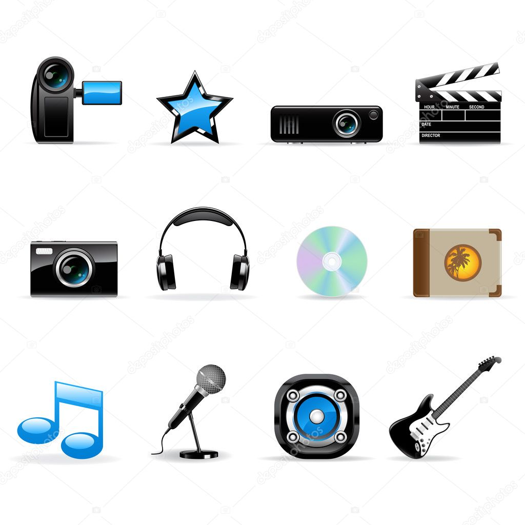 Vector media icons set isolated on white.  Stock Vector #2481767