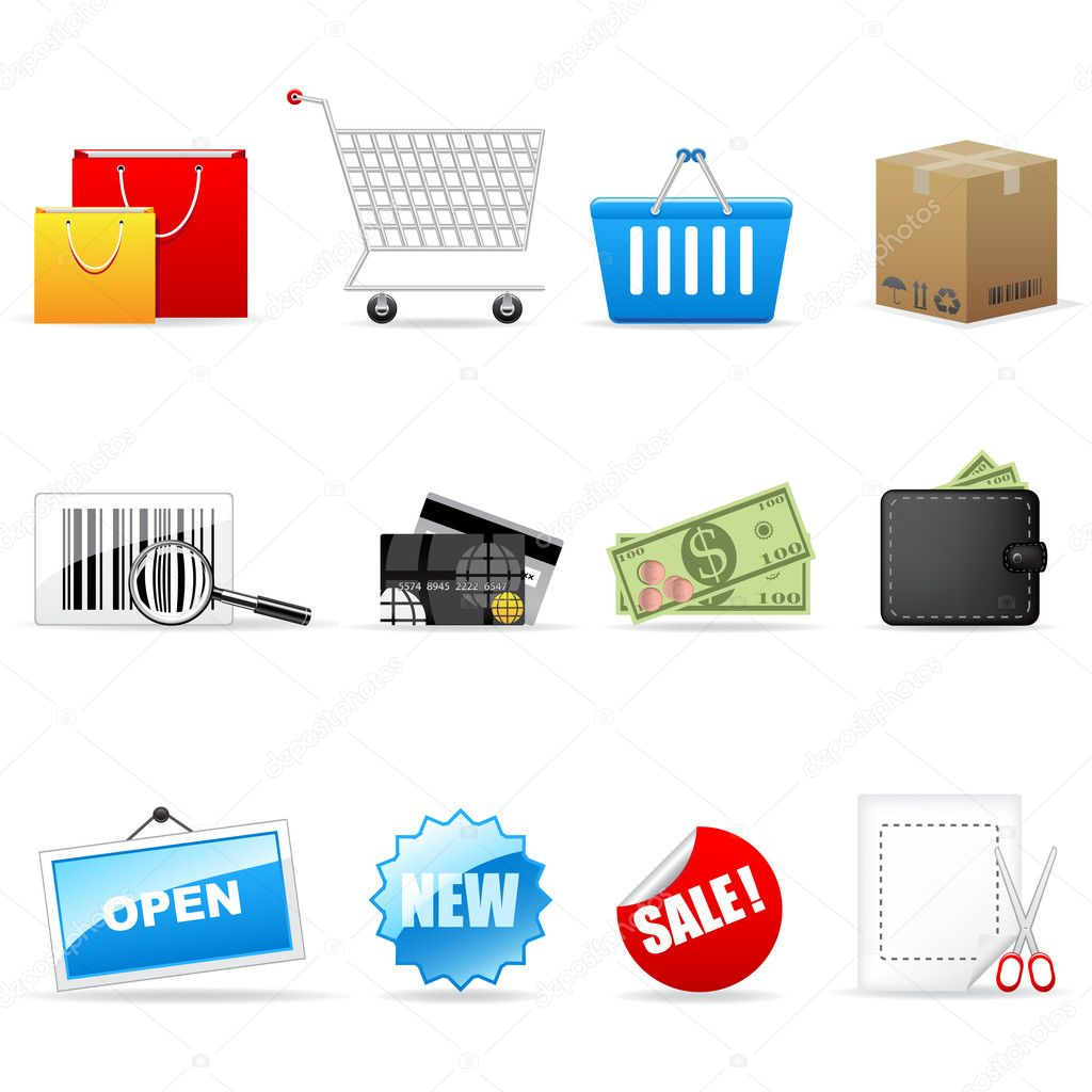 Vector shopping icon set isolated on white. — Stock Vector #2481899