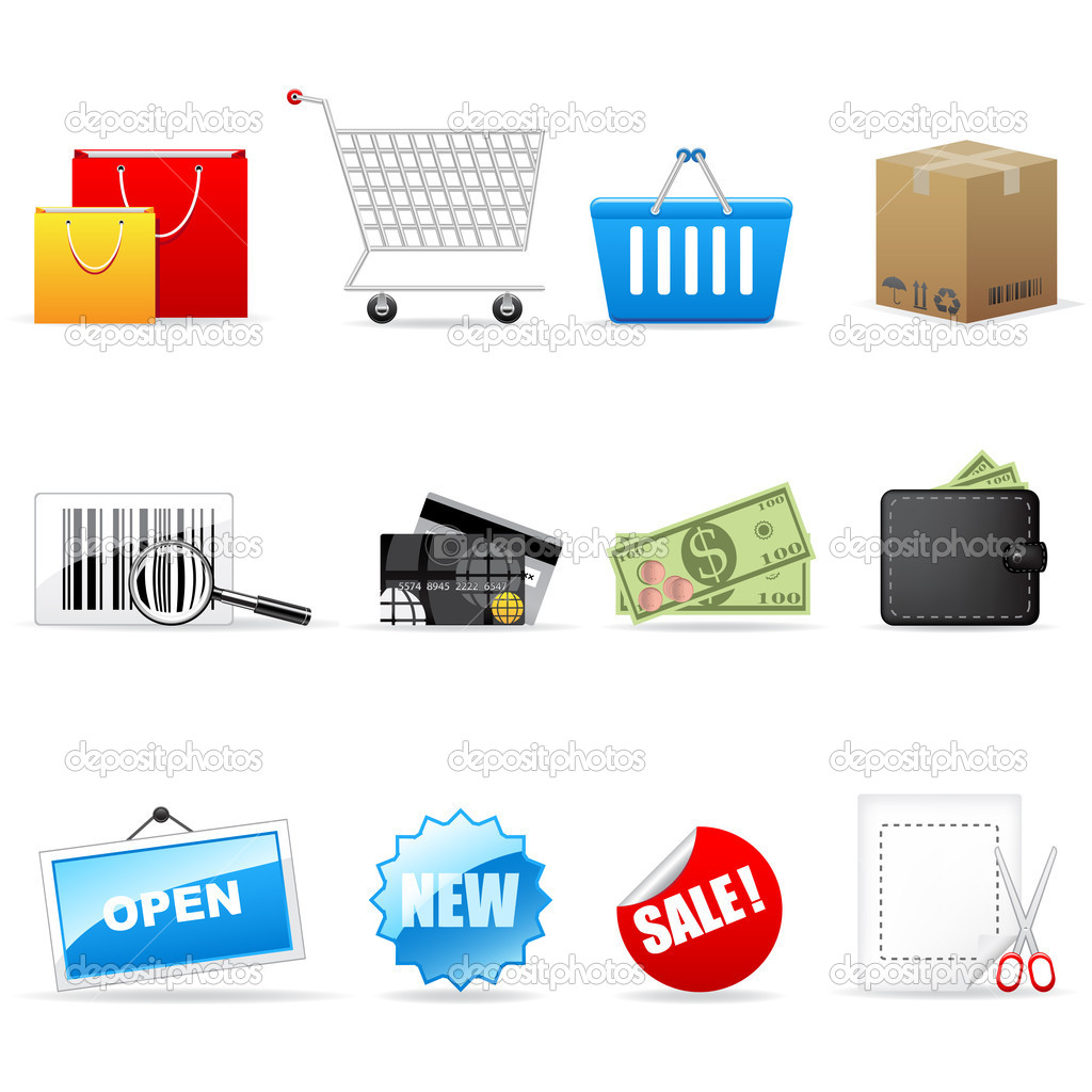 Vector shopping icon set isolated on white. — Imagen vectorial #2481899