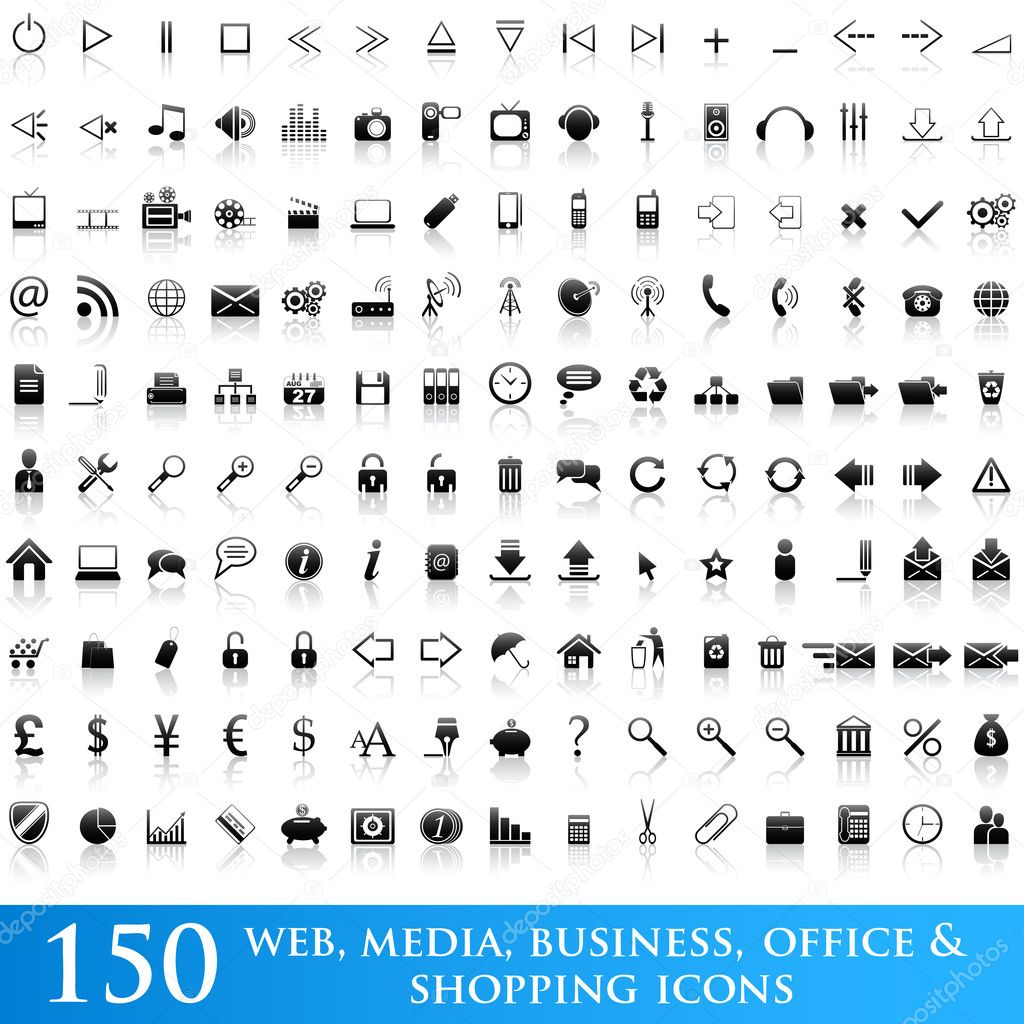 Set of 150 web, media, business, office and shopping icons. — Imagen vectorial #2485065