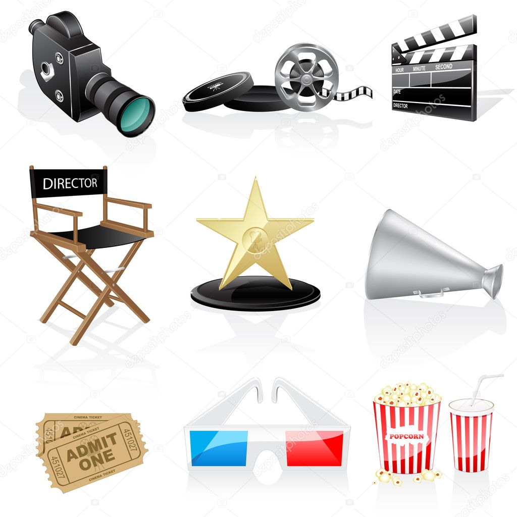 Cinema icons isolated on white background.  — Stock Vector #2485310