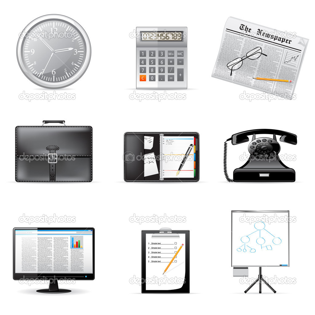 Business and office icons isolated on white. — Stock Vector #2485768