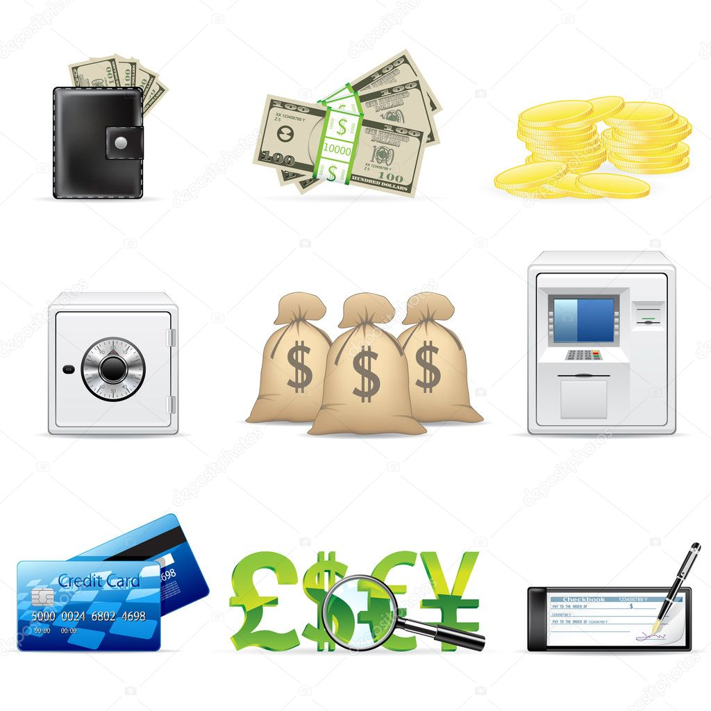 Vector banking and finance icon set isolated on white. — Stock Vector #2485892