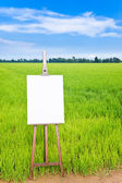 Blank canvas on an easel — Stock Photo