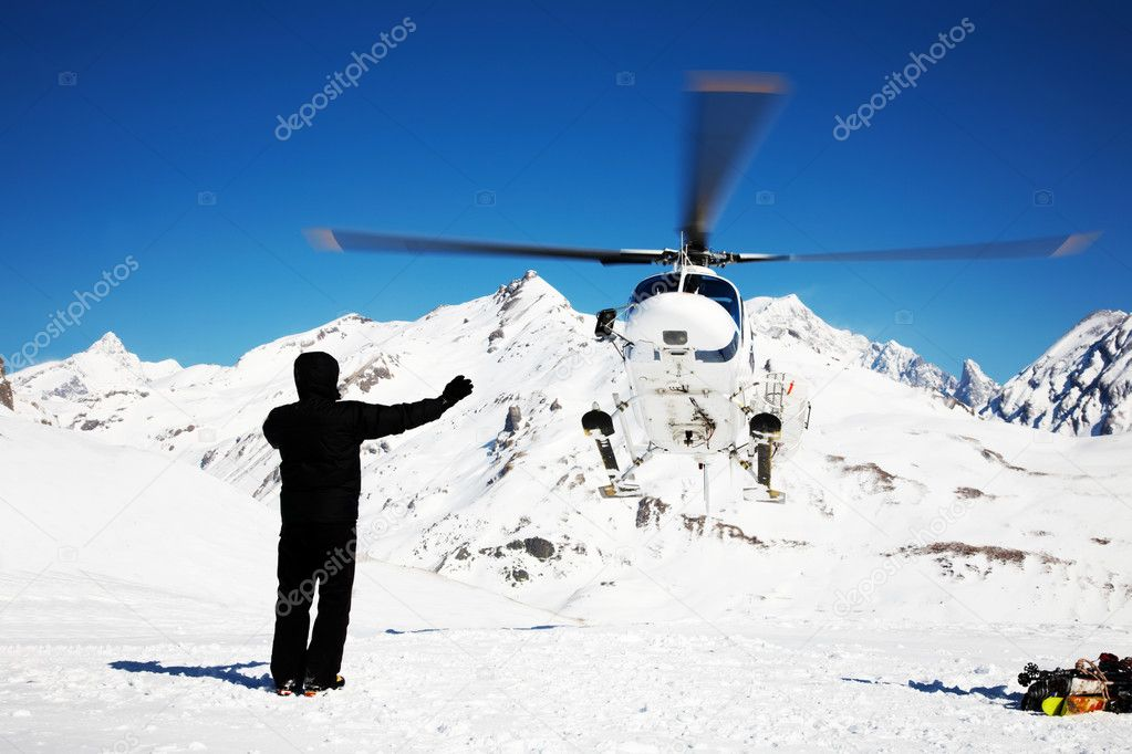 Heli Skiing Helicopter, Mont Blanc ski resort, France, Europe. — Stock Photo #1256680