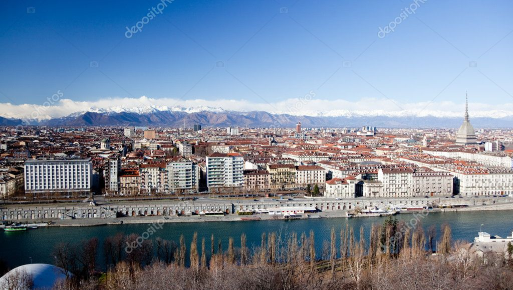 Turin panoramic view; winter clear day; Italy, Europe  Stock Photo #1604031