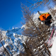 Skier in air - Stock Photo
