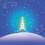 Stars snow and christmas tree — Stock Vector #1243940