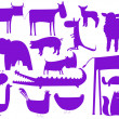Stock Vector: Animal purple silhouettes isolated on wh