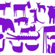 Animal purple silhouettes isolated on wh — Stock Vector