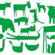 Animal green silhouettes isolated on whi - Stock Vector