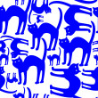 Royalty-Free Stock Vektorfiler: Blue cats pattern isolated on white back