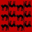 Cat pattern isolated on red background — Stock Vector