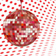 Disco ball red — Stock Vector